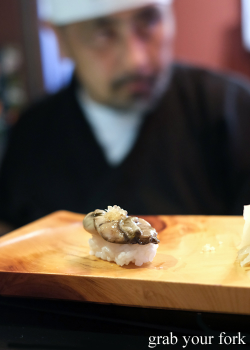 Tasmanian pacific oyster nigiri sushi during the omakase sushi menu at Osaka Bar in Darlinghurst Sydney