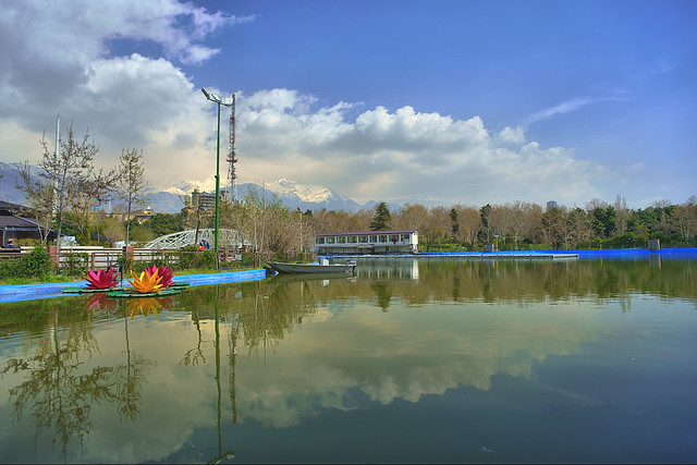 Mellat Park Lake in Spring, Tehran, Iran (Persia)