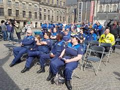 Amsterdamse BOA's protesteren op de Dam