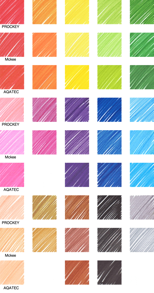 640x1214 Aqueous Pigment Felt-Tip Pen Color Chart