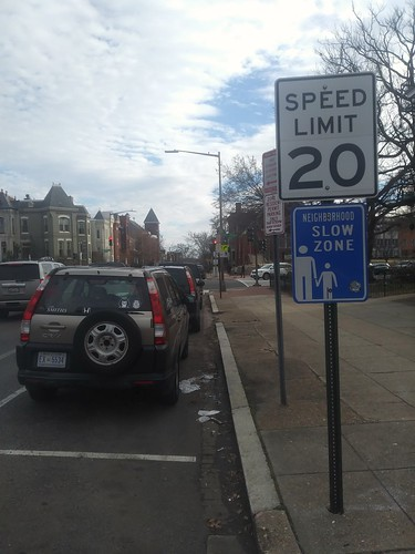 Neighborhood Slow Zone street sign, 4th and C Streets SE, Capitol Hill, Washington, D.C.