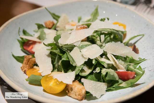 Organic arugula salad with northern Thai heirloom tomatoes, parmesan and olive oil dressing