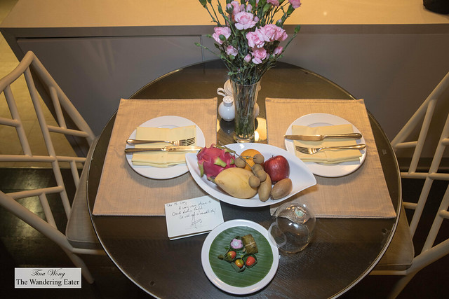 Welcoming fruit and sweets at my one bedroom siute, park view