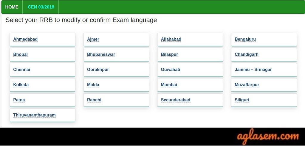 RRB JE Choose zone for change in exam language 2019