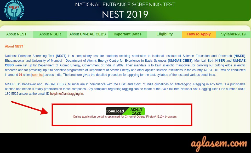 NEST Admit Card