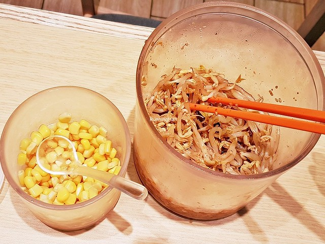 Side Dishes - Marinated Bean Sprouts, Corn Kernels