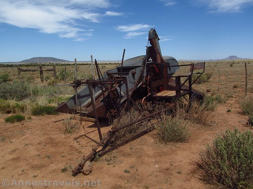 Old farm machinery at the far corner of the parking area at the Mount Trumbull Schoolhouse in Grand Canyon-Parashant National Monument, Arizona
