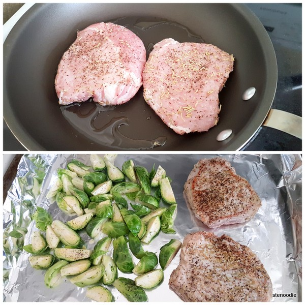 pork chops and Brussels sprouts
