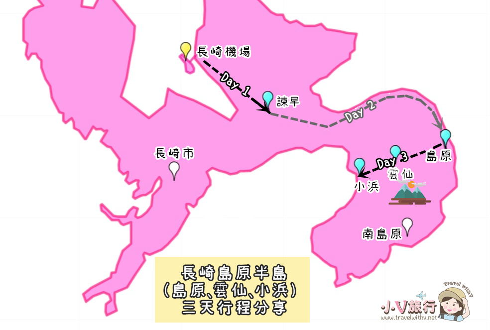 香港直飛長崎【島原 ・ 雲仙 ・ 小浜 非自駕行程規劃】 交通攻略、住宿推薦 地圖