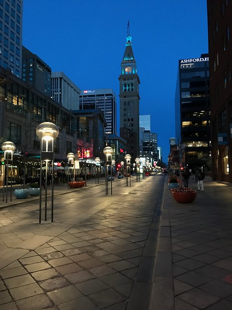16th St Mall in the evening