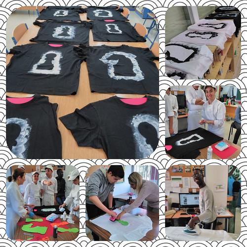 preparación de camisetas ajedrez