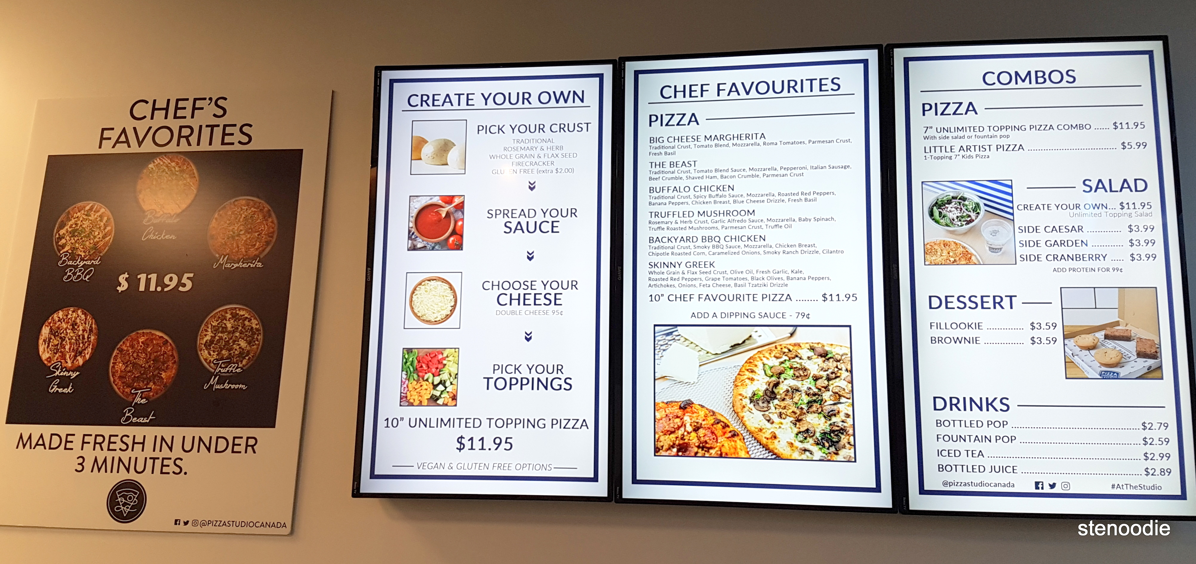 Pizza Studio Markham menu and prices