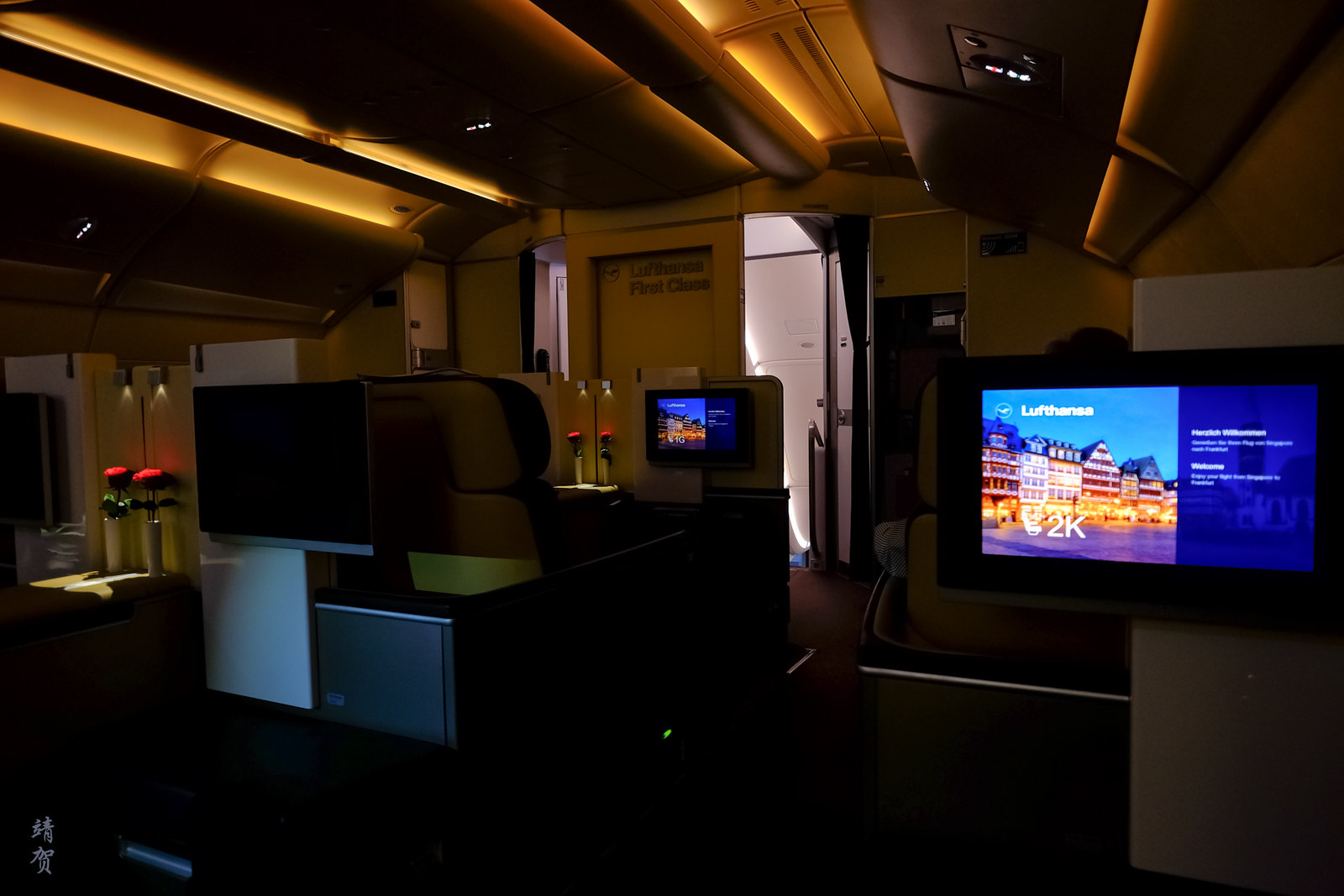 Dimmed cabin for take-off