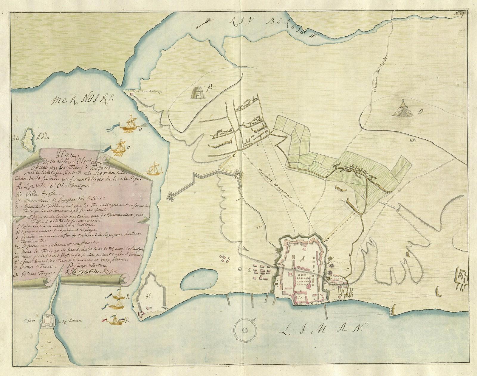 1737. План города Очакова, осажденного турками и татарами