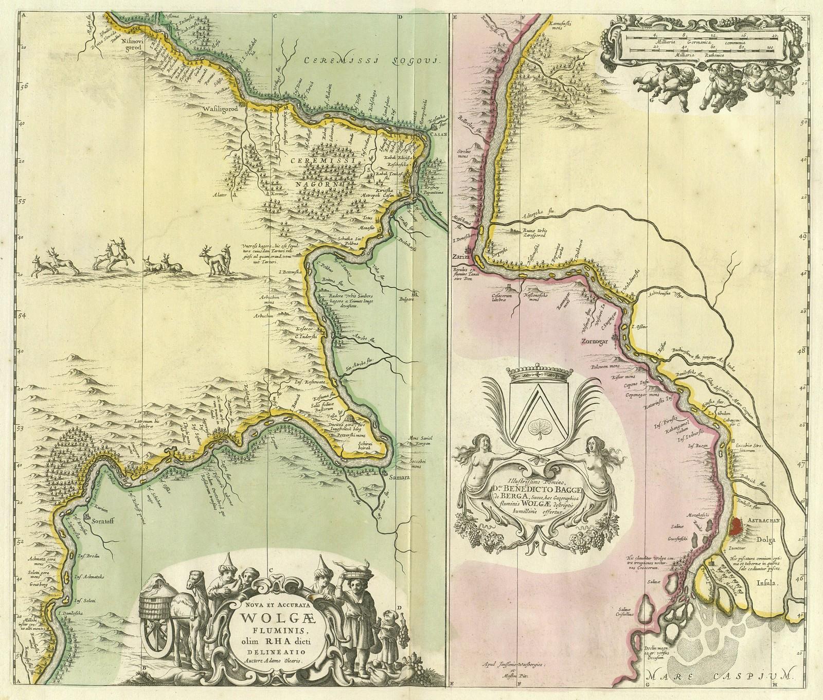 1690. Новая и точная карта реки Волги
