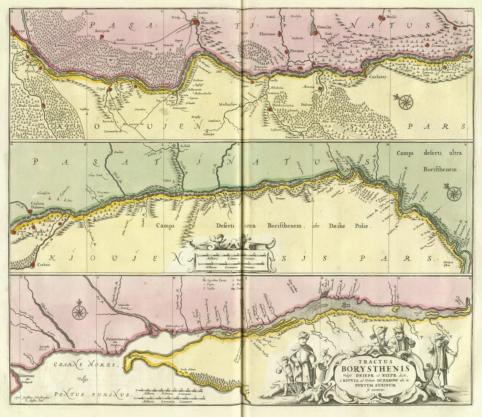 1680. Карта Борисфена (Днепра), от Днепровских порогов до Черного моря