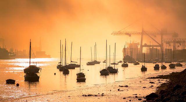 Foggy Dublin port