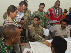 Timorese first responders and Pacific Partnership team members work together during a group exercise on pre-planning for a tsunami scenario. (U.S. Navy/MC2 William Berksteiner)