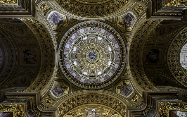 Looking up in St. Stephen's Basilica in Budapest