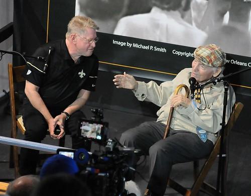 Quint Davis interviews George Wein on the Allison Miner Music Heritage Stage - 4.25.19. Photo by Black Mold.