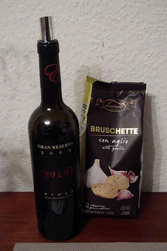 Epulum Gran Reserva Rioja 2009 und Bruschette con aglio