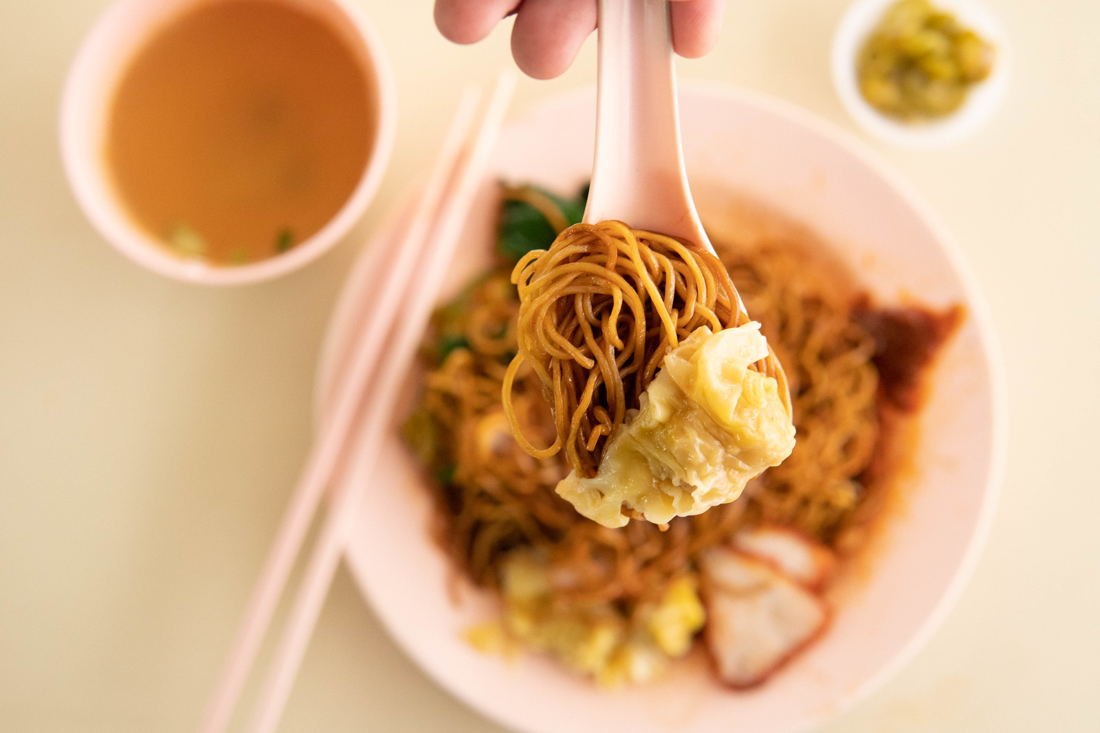 A spoonful of noodles with wantan