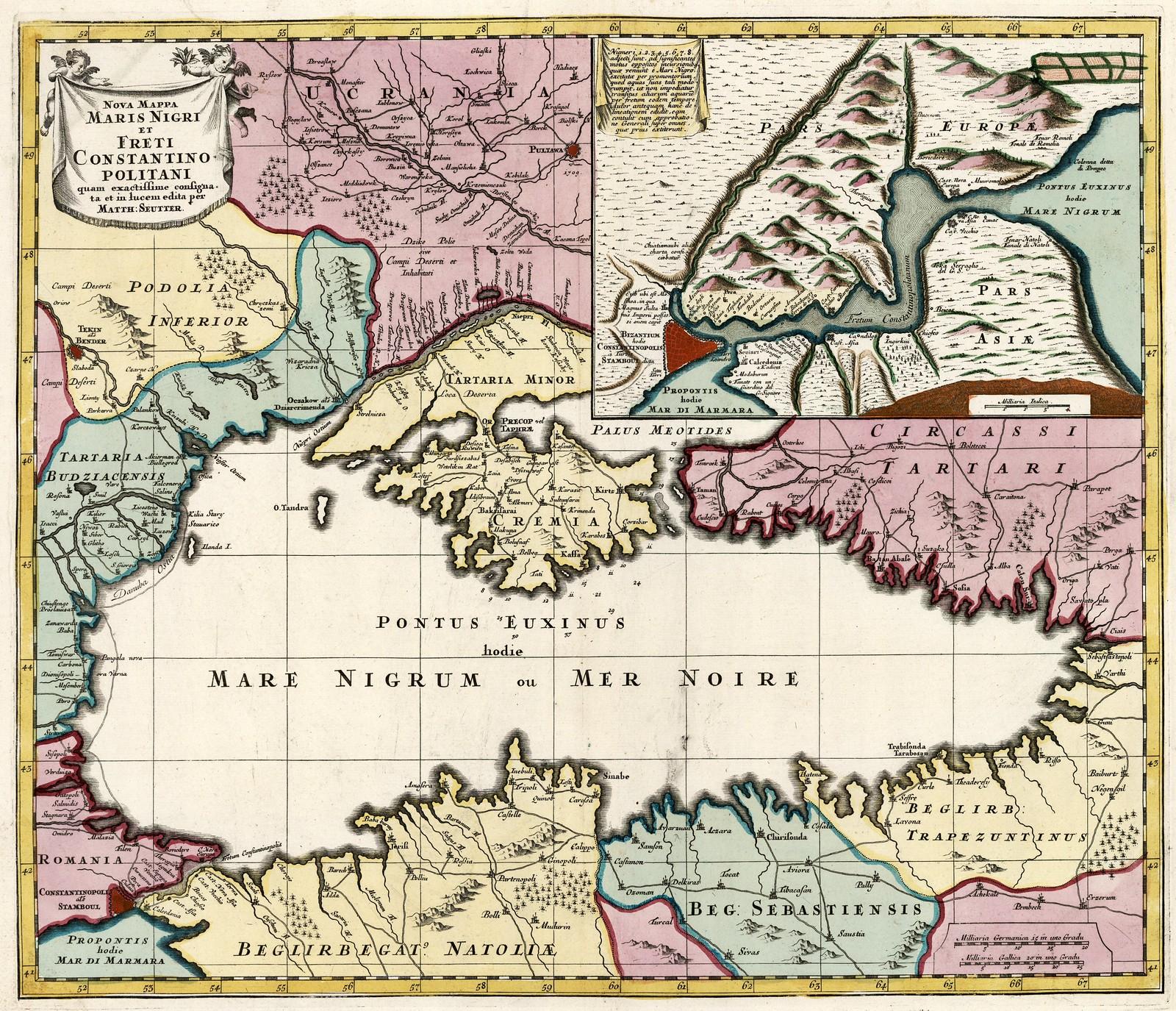 1730. Новая карта Черного моря и Константинопольского пролива, разработана и опубликована Маттеусом Сойтером, Аугсбург, Германия