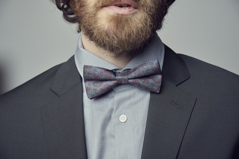 Bowtie with pattern, bearded man