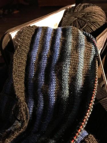 Kim's Boxy by Joji work in progress using a mix of yarn weights - Cascade 220 Superwash and Koigu mini skeins!