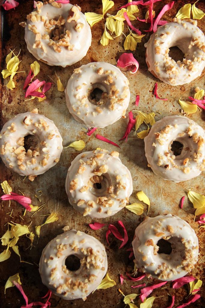 Banana Walnut Donuts with Maple Glaze (gluten-free and vegan)