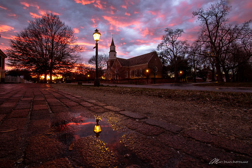 church history historical viginia old colonial williamsburg outdoor sunset sky clouds color reflection llight tripod rain minstrel street