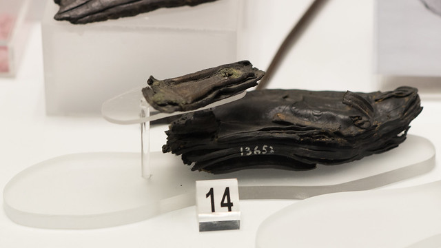 Remains of a Praenestine leather sandal with stamped vegetal decoration