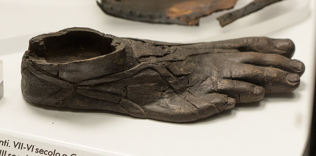 Praenestine wooden box in the form of a sandaled foot