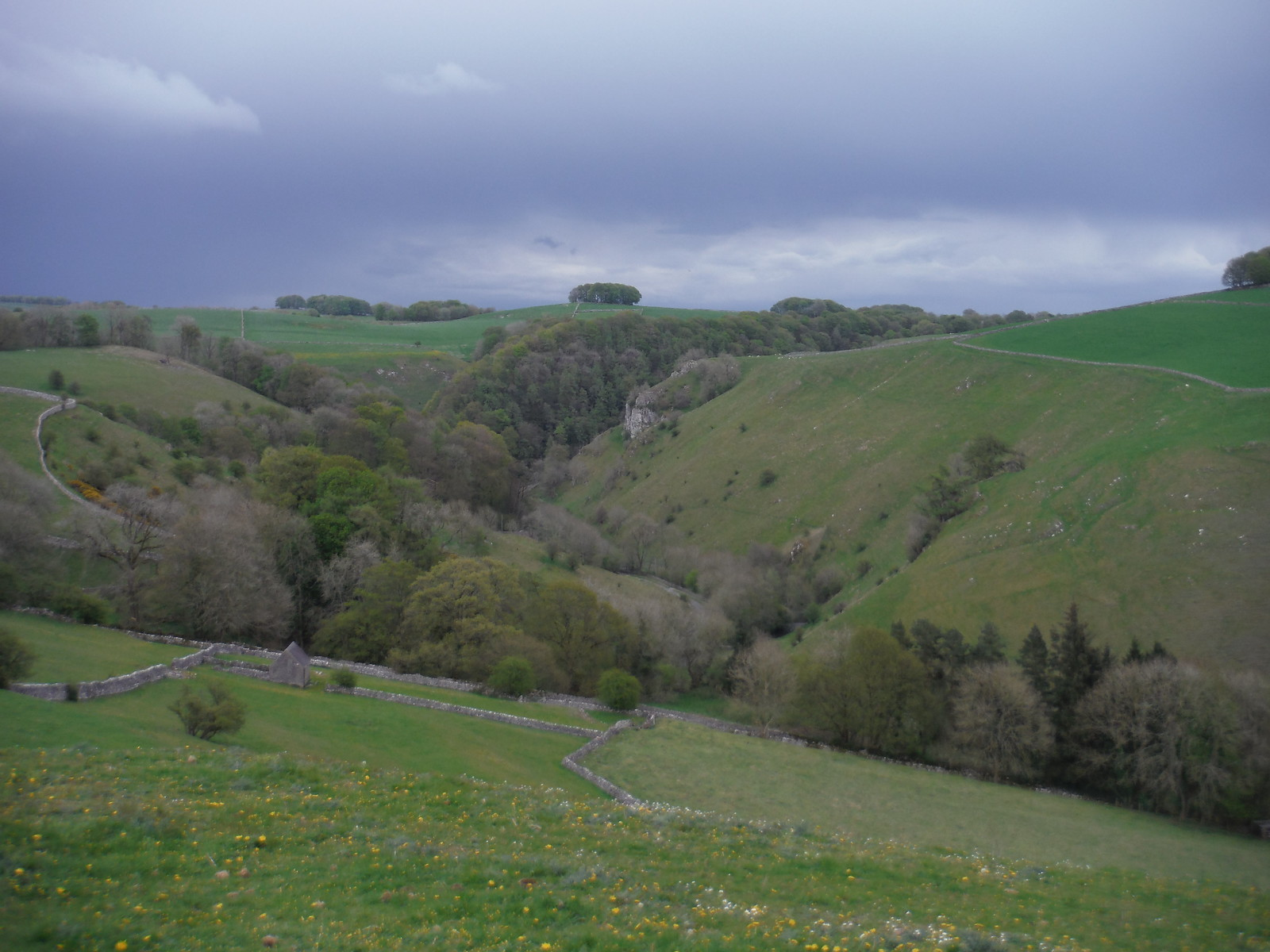View towards Mill Dale from field above Milldale SWC Walk 326 - Dovedale (Ashbourne Circular) [Long Version via Alstonefield]