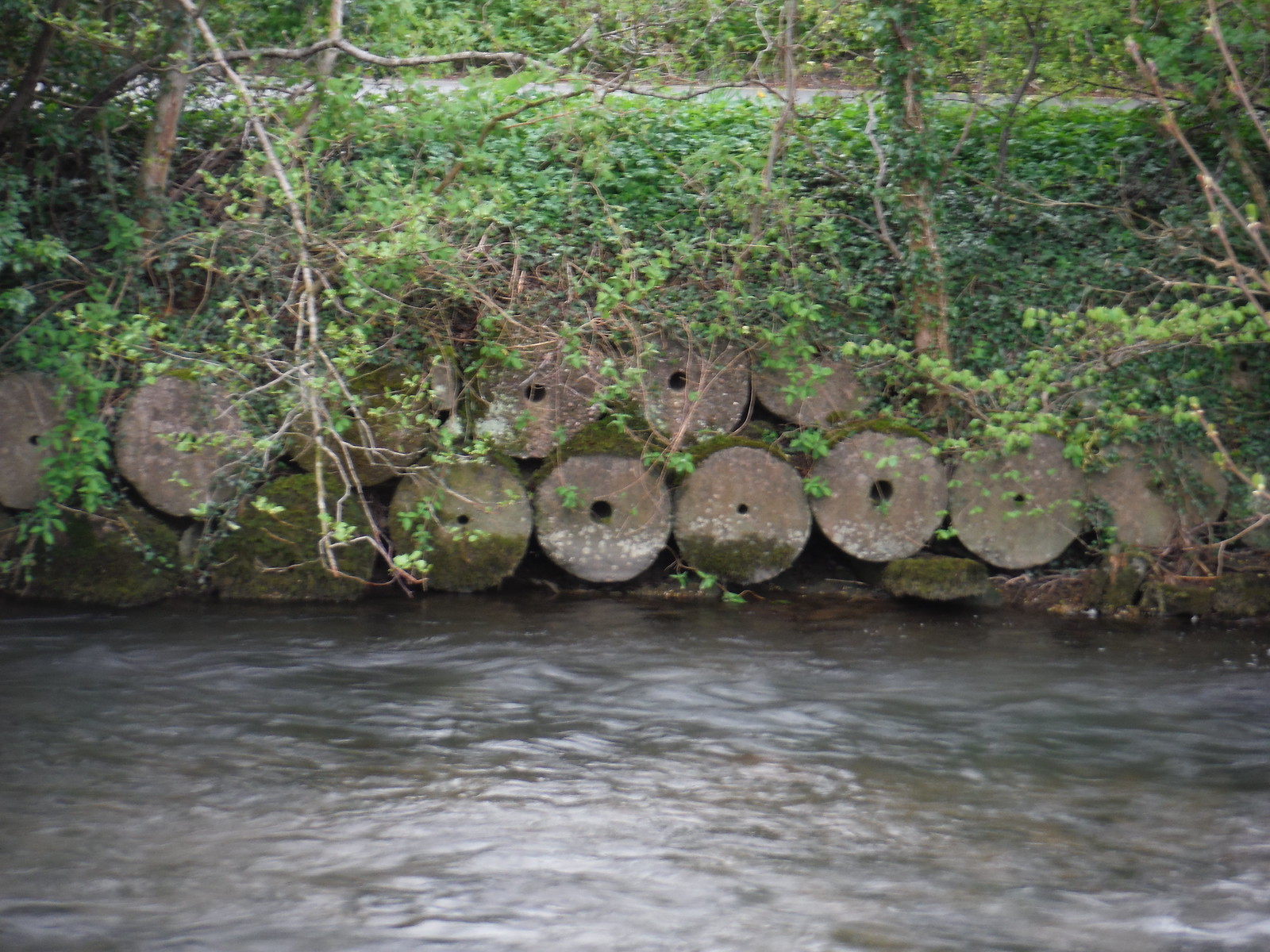 Millstones in banks of the Dove SWC Walk 326 - Dovedale (Ashbourne Circular)