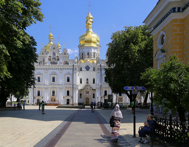 Veiled worshiper on her way to the Cathedral of the Dormition at Kyiv Pechersk Lavra
