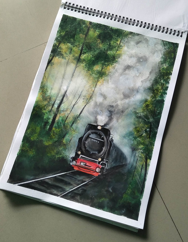 a train in the woods