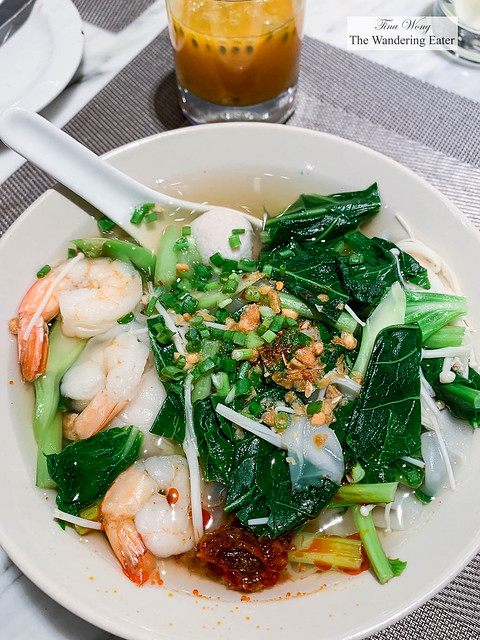 Made to order boat noodles with shrimp and vegetables