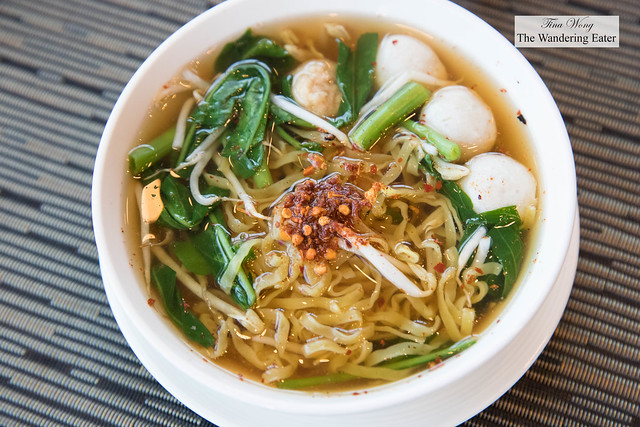 Noodles with fish ball and vegetables at Up & Above