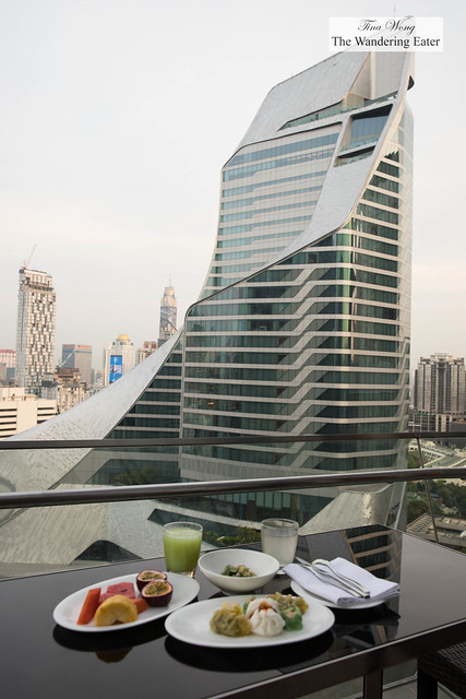 Breakfast with a city view at Up & Above