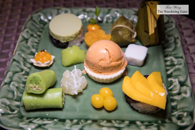 Salathip Sweet Sampler - Assortment of homemade desserts and Thai milk ice cream