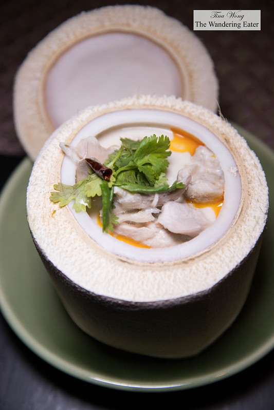 Tom Kha Gai Mapraw Onn - Chicken and coconut soup with straw mushrooms and aromatic herbs