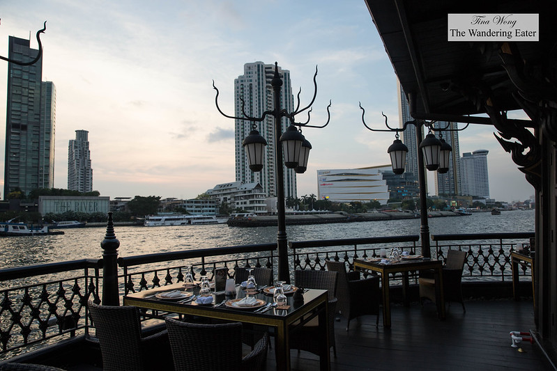 Table with a view of Chao Phraya River