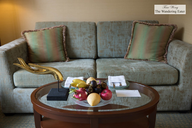Living area of my room with welcoming fruit