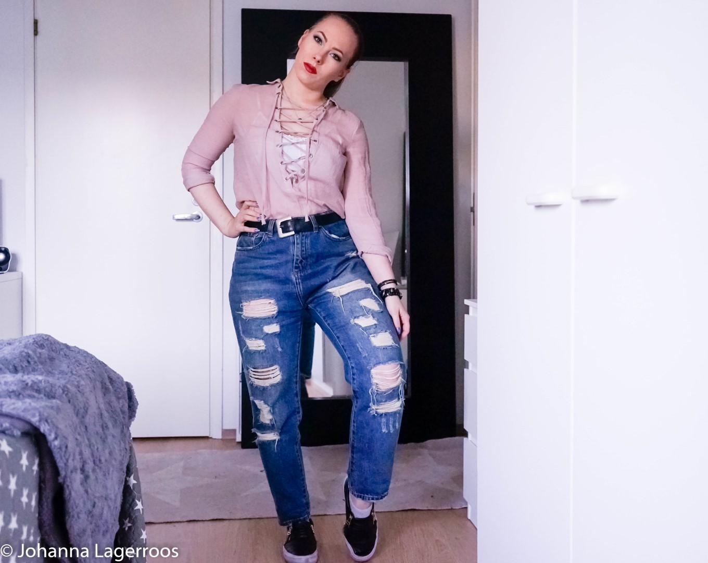 pink top look
