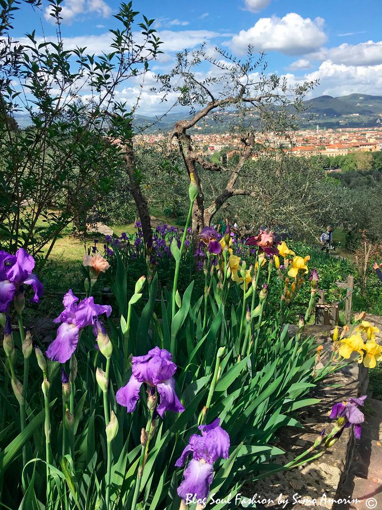 O jardim além de ser lindo nos oferece uma vista maravilhosa da cidade de Florença