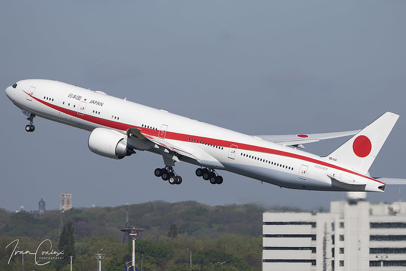Boeing 777-3SB/ER – Japan-Air Force – 80-1111 – Brussels Airport (BRU EBBR) – 2019 04 26 – Takeoff RWY 25R – 01 – Copyright © 2019 Ivan Coninx