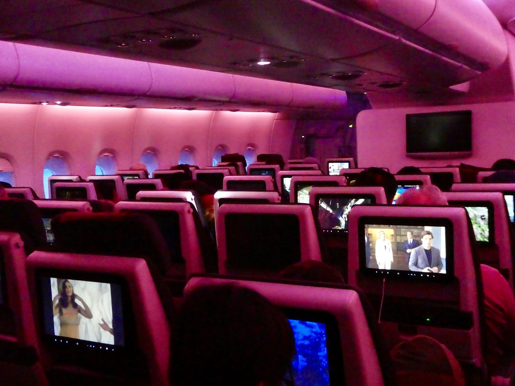 On board the Qatar Airways Airbus A380 from Doha to London Heathrow