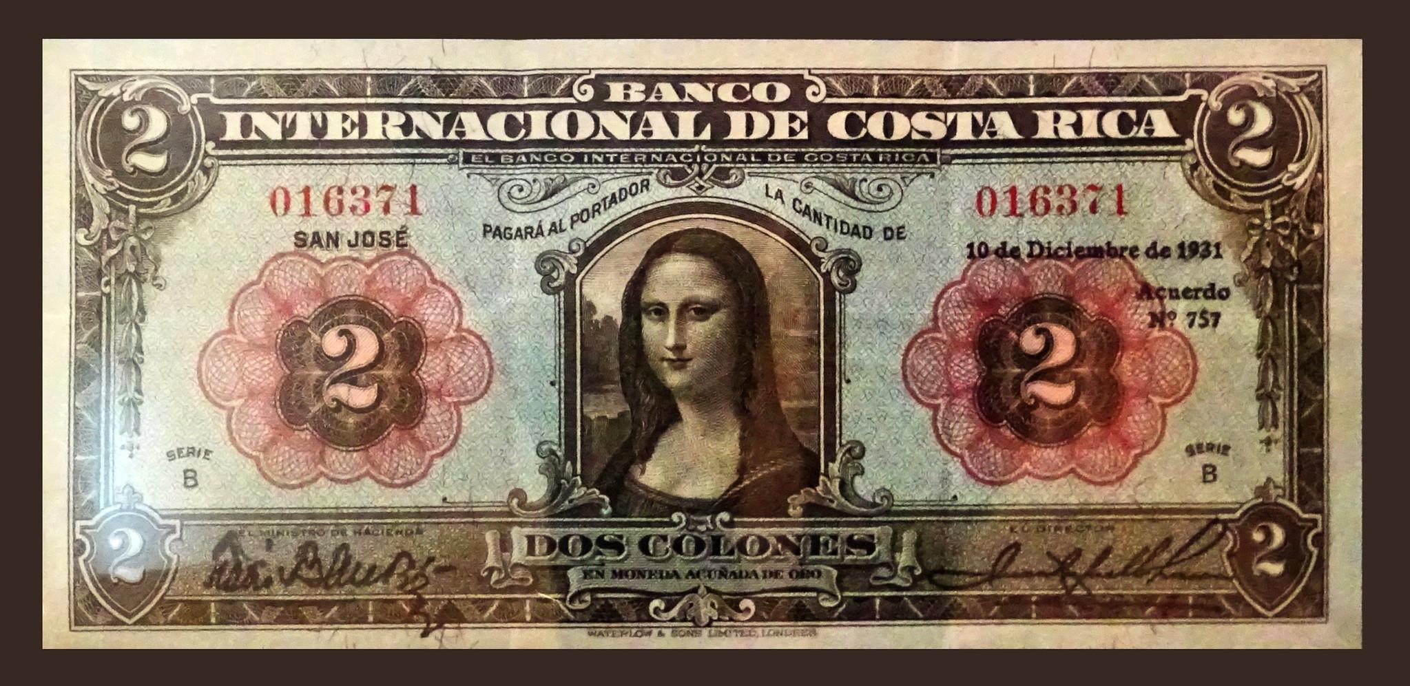 imagen de la Gioconda dos colones Billete 1931 de Costa Rica Museo Numismática Banco Central San José de Costa Rica 08