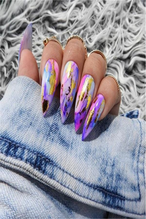 30+ Awesome Watercolor Nail Art Designs Trends 2019 #nail_art_designs #trendy_nails #watercolor_nails #top_manicure